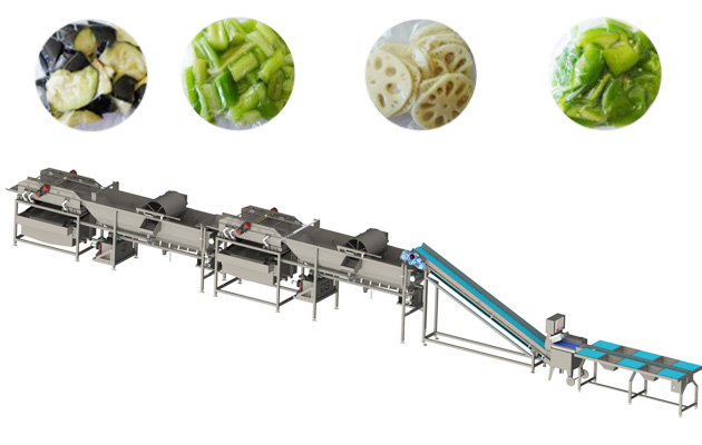 salad washing and cutting processing line
